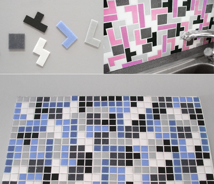 Tetris tiles offer many colorful options for backsplashes and backsplash walls.