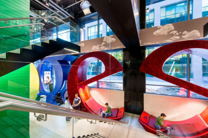 The giant letters house 'work pods' which are commonly found throughout all of Google's complexes.