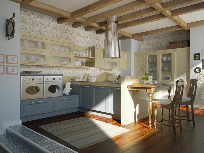 traditional kitchen floral motif