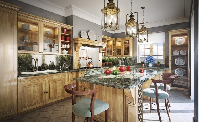 warm wood and grey traditional kitchen