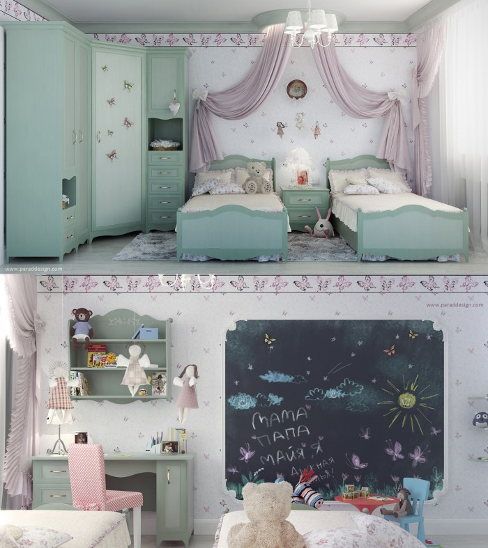 This is a formal bedroom for two young girls with twin beds and a large armoire.