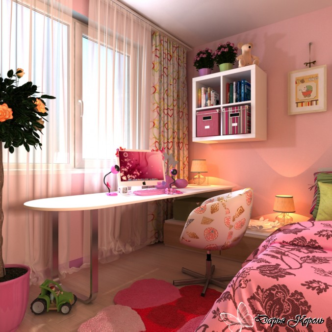 The designer of this young girl&#039;s bedroom created a space that can be enjoyed through the teen years.
