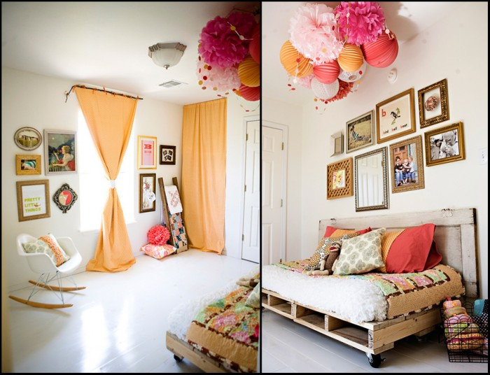 This preteen girls bedroom features many vintage and industrial touches such as the pallet bed on wheels and a collection of old artwork and framed needlework.