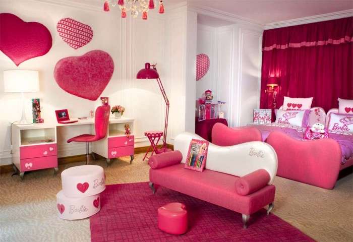 This pink and purple preteen girls bedroom is filled with all things Barbie.