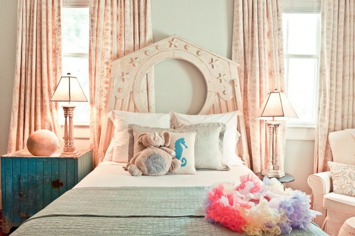 For a seaside home or a girl who loves the water, a beach motif room would be quite enjoyable with a calm color palette and lots of ocean accents.
