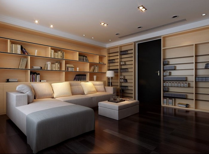 downlit blonde wood clad libray lounge china