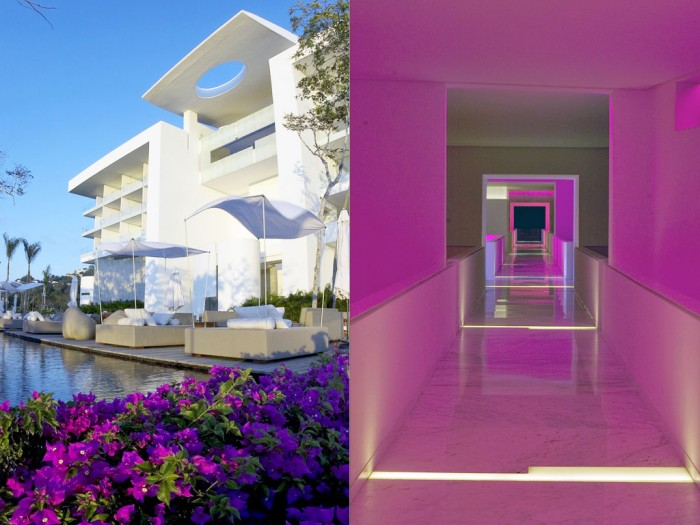 The hotel's exterior facade is high white which works beautifully as a canvas for the ambient light and full color spectrum displays which can be found around every corner.