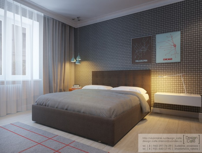 The master bedroom is compact yet not restricting. It is decorated in a soft natural palette of greys and neutrals.