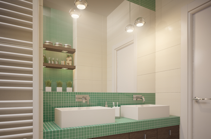 The homeowners decided on one big bathroom with large shower and two sinks on one vanity.