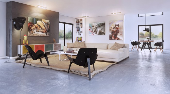Modern art Aurelien BRION- Anime-esque art in modern living concrete floors