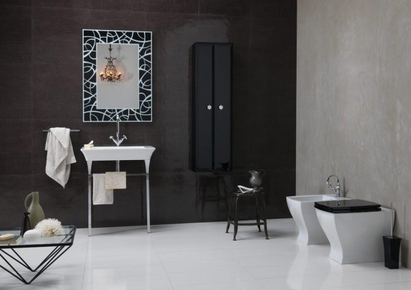 Bruna Rapisarda Art deco elements monochrome bathroom