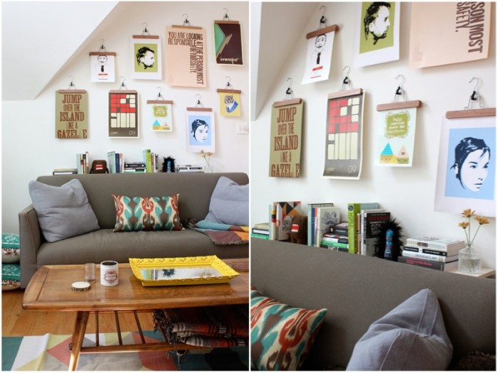 The epitome of high impact/ low cost, this cute concept requires not a handyman or a critic. All that is required is a selection of coat hangers in a choice of blonde or dark wood (or metal if the theme of the room dictates) and a rough idea of what types of images might be displayed.