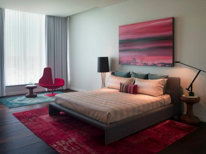 Modern art Crimson hued bedroom modern artistic featurewall painting