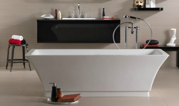 Danelon Meroni red white and black bathroom with isolated tub