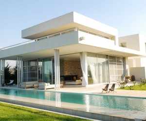 Exterior Modern White Agua House with pool
