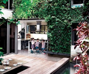 Exterior vertical garden wall children play courtyard
