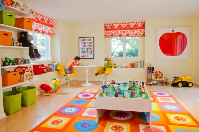 Geometric and floral mat in brightly colored child's playroom