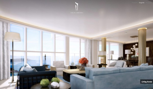Monaco Penthouse- ice blue open plan modern living dining with ocean view