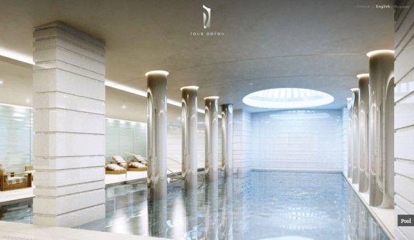 Monaco Penthouse- indoor swimming pool with columbs and sperical skylight