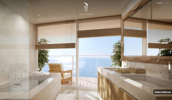 Monaco Penthouse- master bathroom with deck access and ocean views