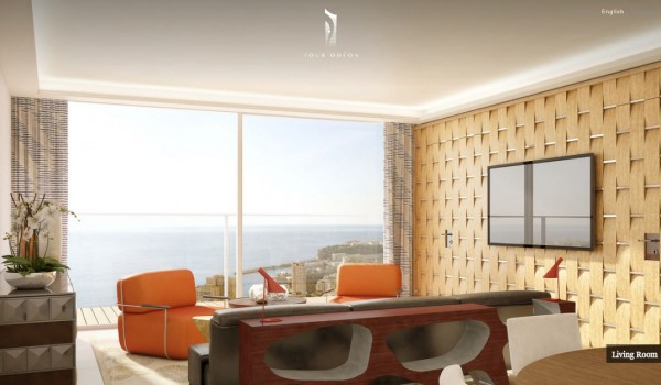 Monaco Penthouse- retro inspred sitting area with ocean views