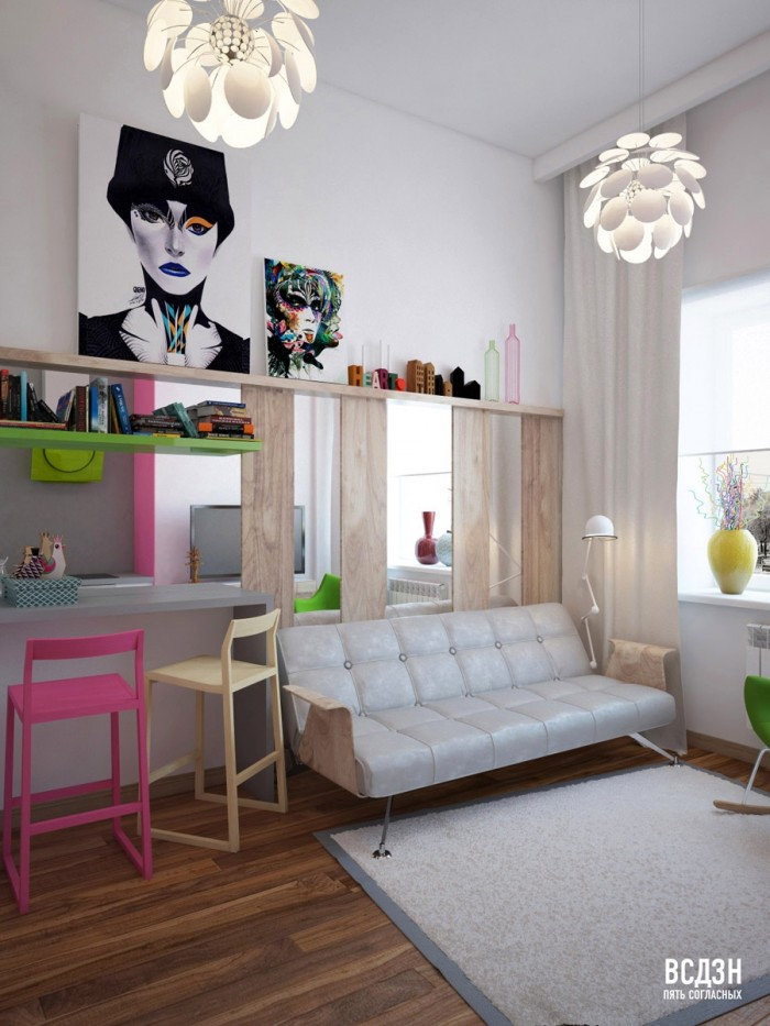Modern art Natalya Nazhimova- pop of colour with popart living workspace