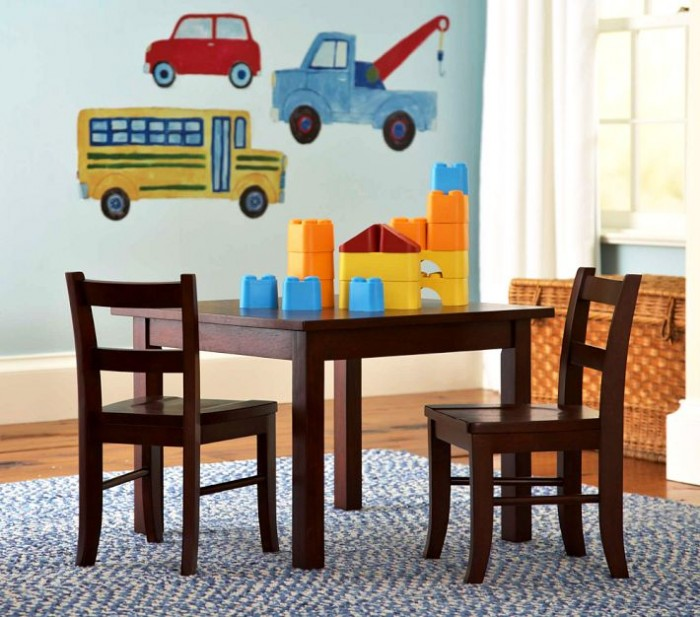 Pottery Barn Child's room table chairs and truck wall decals