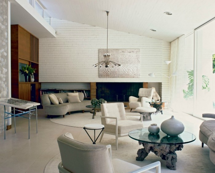 Modern art Roger Davies Photography- White Brick Textural painting modern white living high ceilings