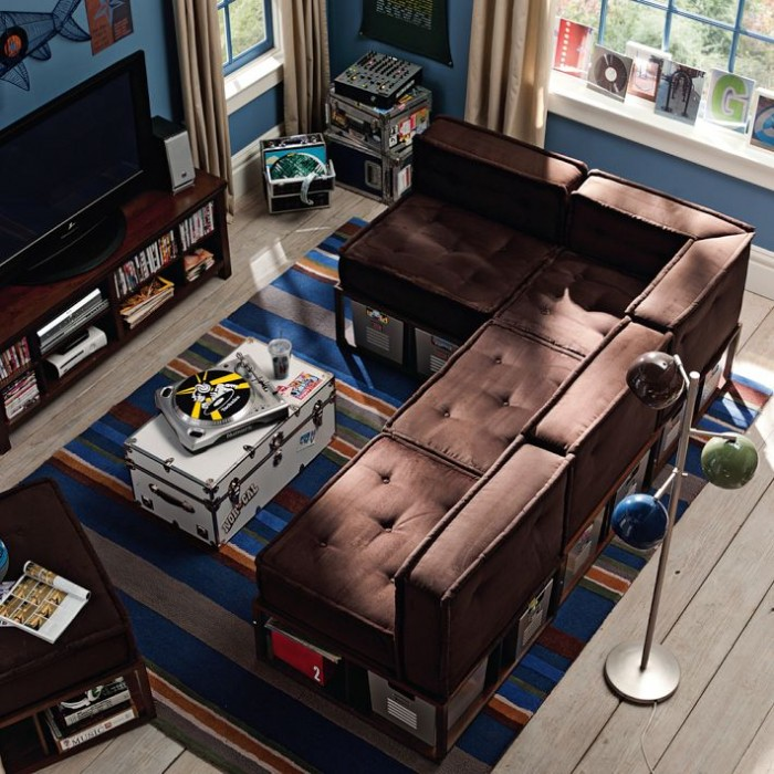 aerial view boys room in blue red and brown with large lounge entertainment