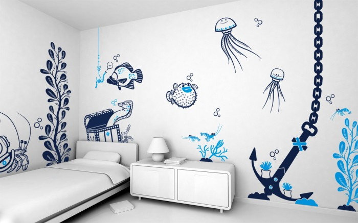 animated underwater boys room blue and white