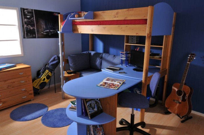 blue and natural older boys room with bunk