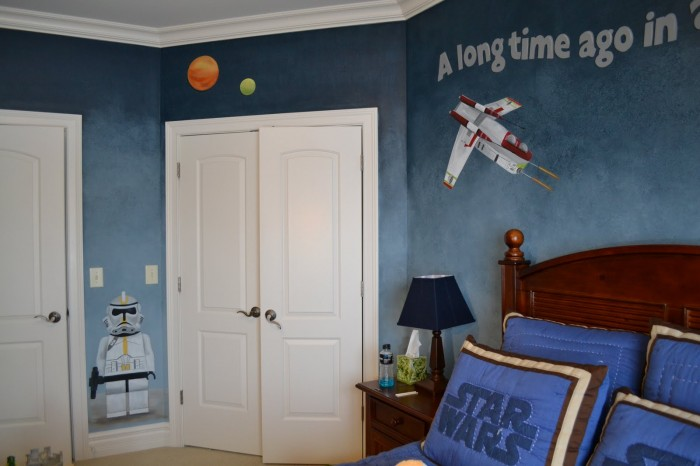 blue and white starwars themed boys room