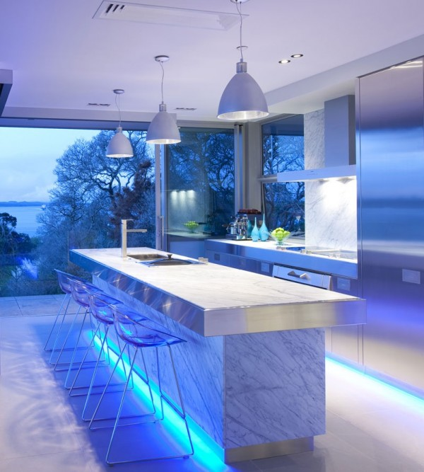 blue highlighted modern kitchen