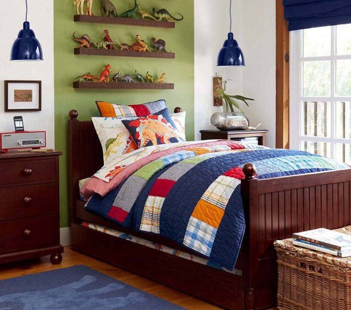 blue patchwork quilt pendant lit boys room