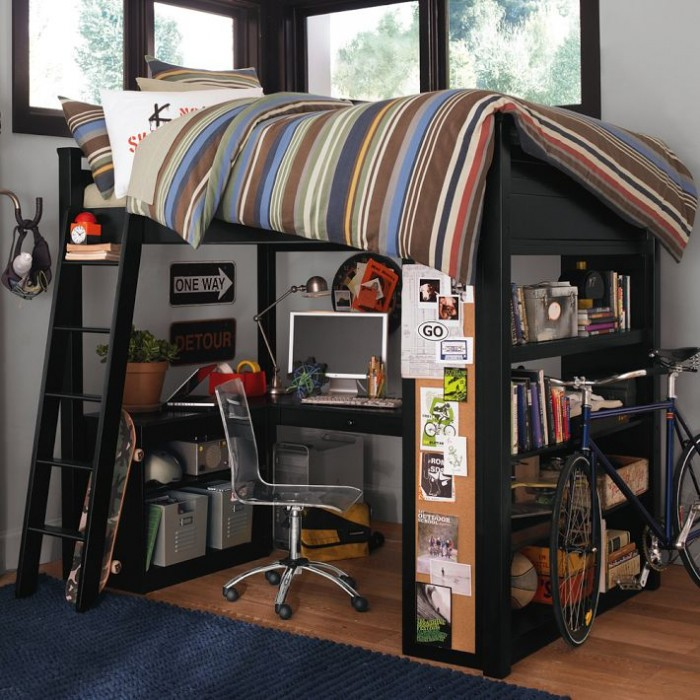 boys room bunk bed with workspace and bike
