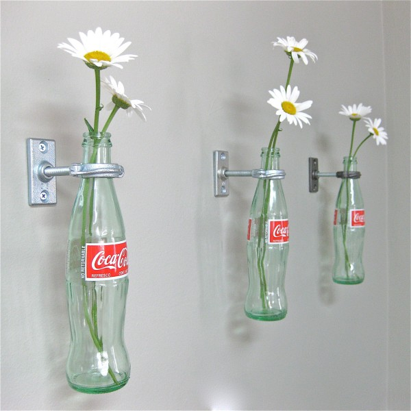 coke bottles white daisies wall mounted industrial