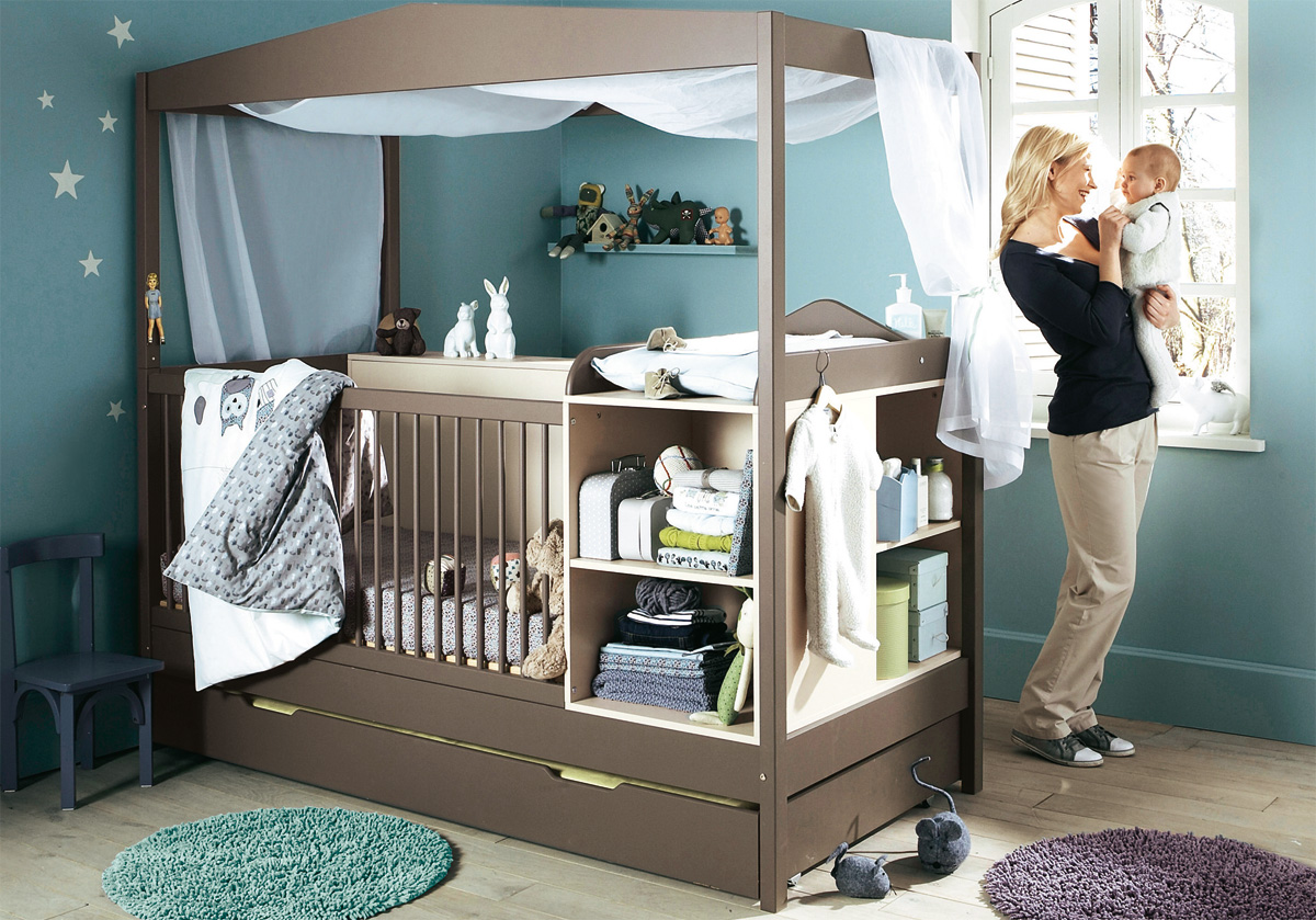 Compact cot and change unit baby boys nursery