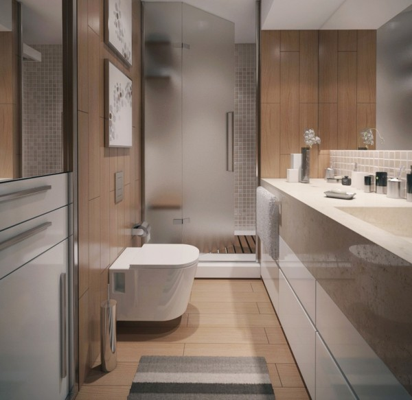 The contemporary bathroom provide an organic and serene experience with soft woods and natural stone elements.