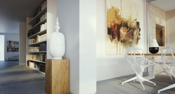 Contemporary fine art can be found throughout the space on large canvases all in subtle hues.
