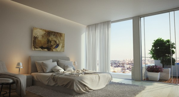 The master bedroom features a glass wall overlooking Jerusalem and beyond. Furnishings are kept minimal and colors neutral to compliment the serenity of the duplex's locale.
