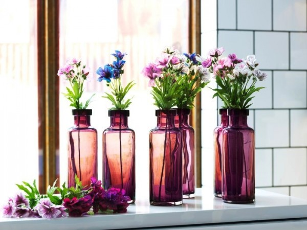 floral repetition stain glass bottles and wild flowers