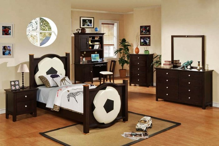 football monochrome and darkwood boys room