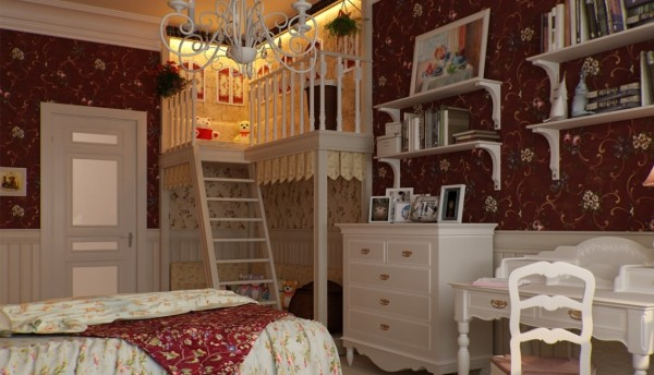 A traditionally decorated girl's room features a tiny magically-lit  playhouse built into the corner.