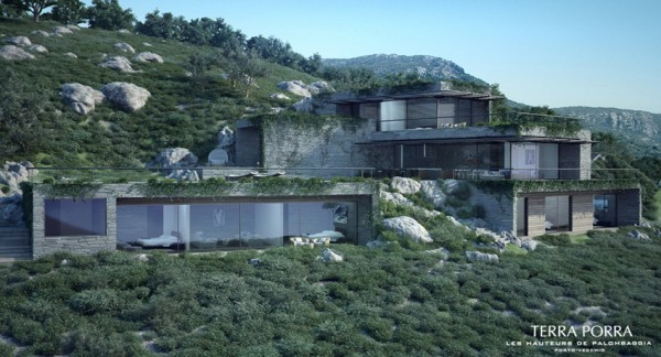 glass walled mountainside villa