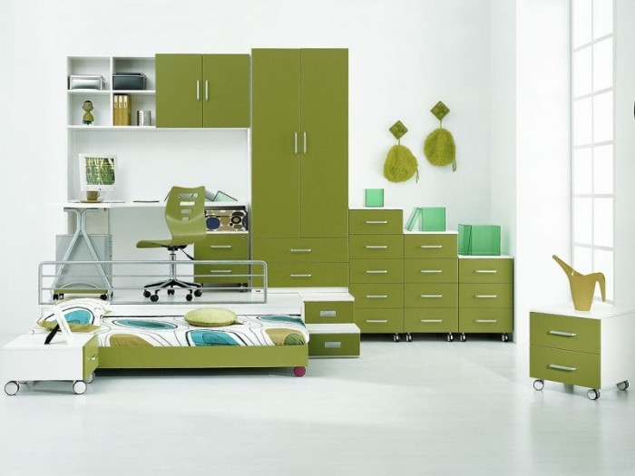 green mobile storage trundle bed boys room