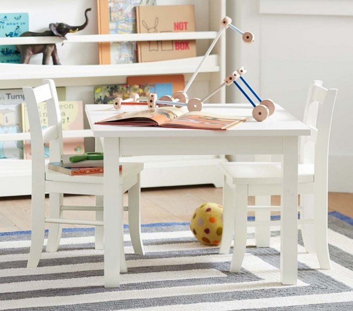 hamptons style child's playromm white orgainic and striped
