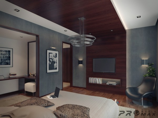 This master bedroom boasts a dramatic use of rich wood that spans from the floor across the ceiling above the bed and onto the wall to the floor beyond.