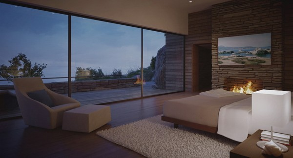 modern bedroom by fire light