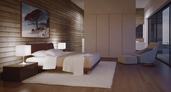 modern bedroom with sleek cabinetry