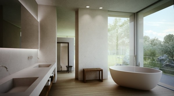 The master bathroom give a serene and natural bathing experience with a stone soaking tub, smooth stone walls and vanities and slatted wood floors.
